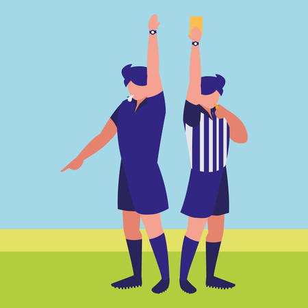 avatar soccer referee blowing the whistle over field background, vector illustration