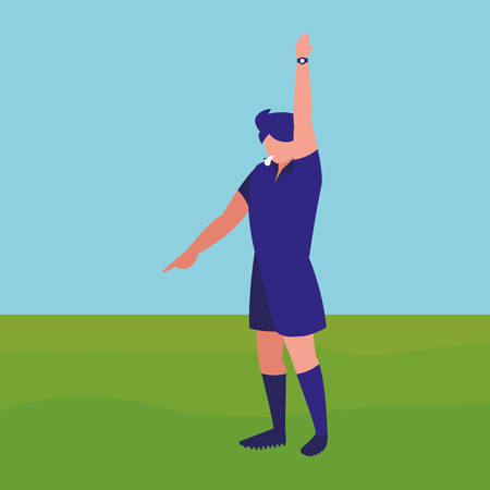 avatar soccer referees showing a yellow card over field  background, vector illustration Illustration