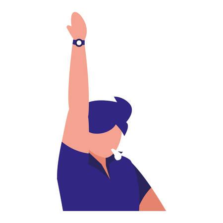 avatar soccer referee over white background, vector illustration