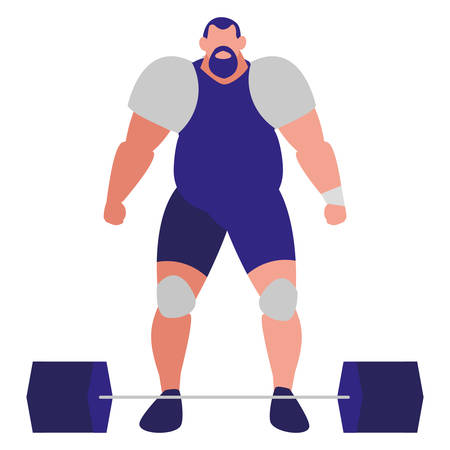 cartoon weightlifter with weights over white background, vector illustration