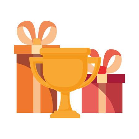 trophy gift boxes surprise commerce vector illustration