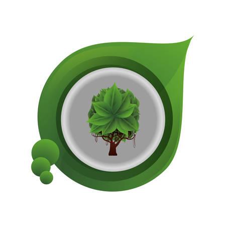 ecology leaf with tree plant vector illustration design Иллюстрация