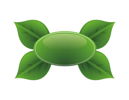 ecology button with leafs vector illustration design