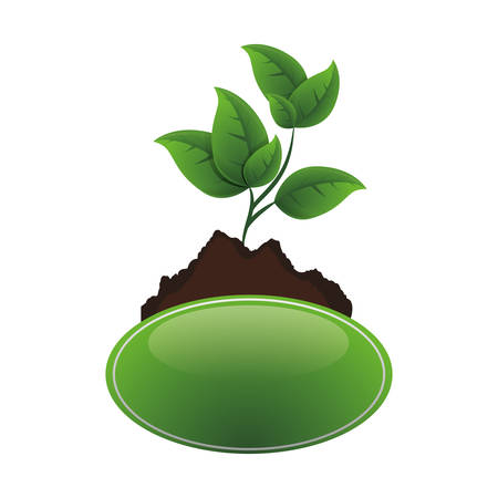 ecology tree plant cultivated vector illustration design