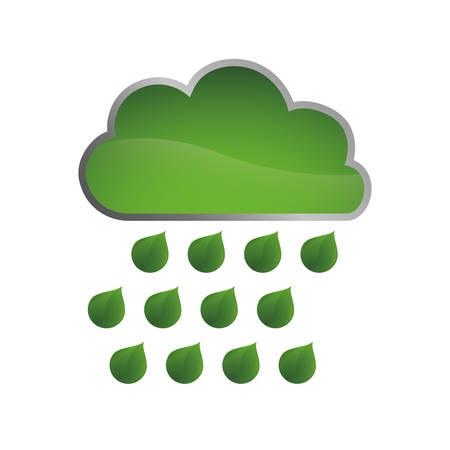 ecology cloud green icon vector illustration design