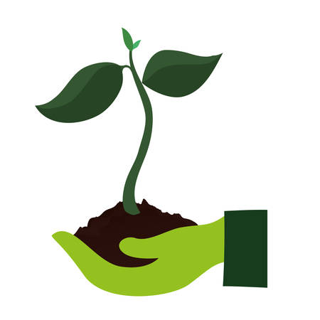 ecology hands lifitng tree plant vector illustration design Çizim