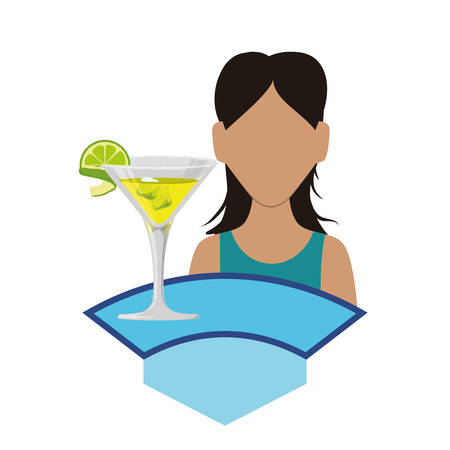 woman with cocktail icon vector illustration design