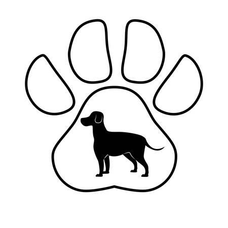 cute dog silhouette in pawprint vector illustration design Illustration