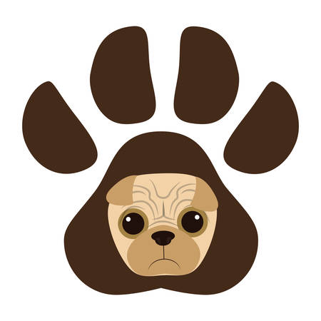 cute pug dog in the paw print  vector illustration design