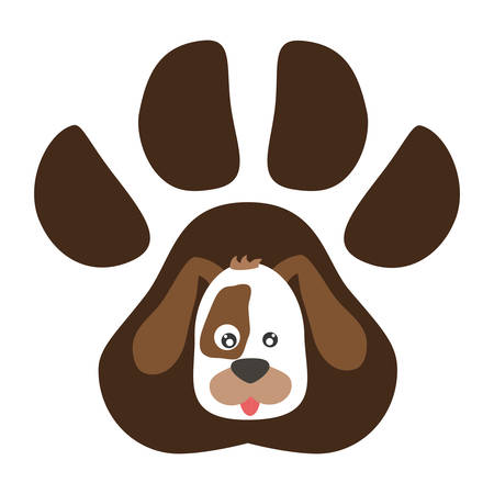 cute beagle dog in the paw print vector illustration design