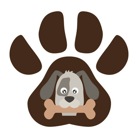 cute jack russell in the paw print  vector illustration design