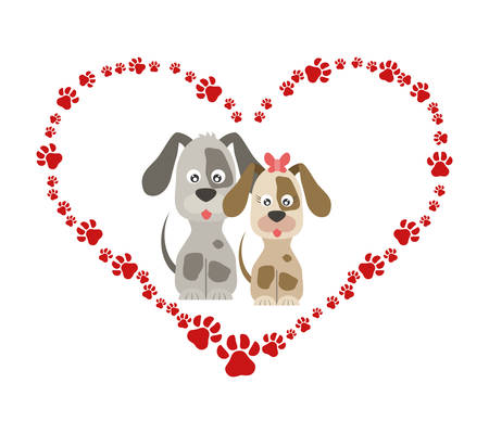 cute beagles dogs couple in heart paws vector illustration design