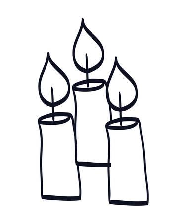 Église de bougies icônes isolées conception d'illustration vectorielle