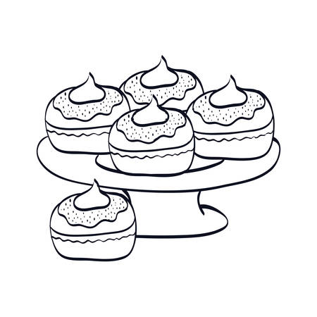 delicious cupcakes sweet in tray vector illustration design Illustration