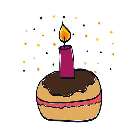 delicious cupcake sweet with candle vector illustration design