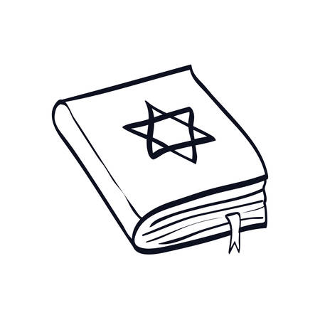jewish holy book with star vector illustration design