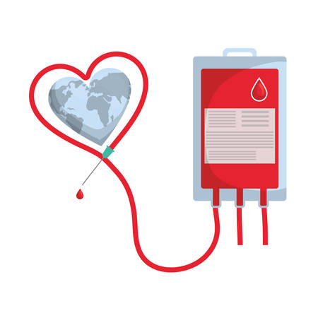 blood donation bag with heart and planet vector illustration design