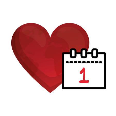 calendar december 1 with heart vector illustration design