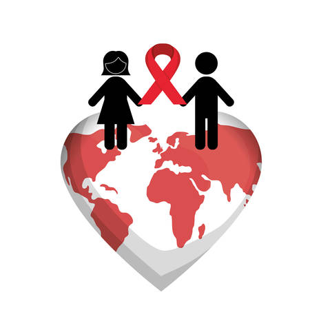 couple silhouette with red ribbon hiv fight vector illustration design Illustration