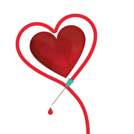 heart with needle icon vector illustration design