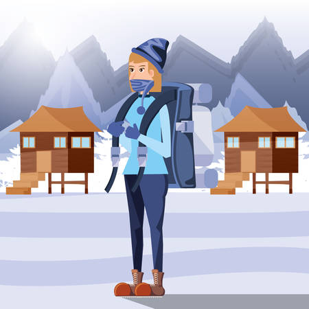 woman tourist in camping snow zone vector illustration design