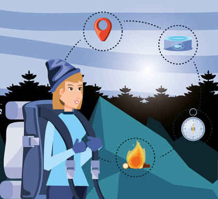 woman tourist in camping zone with set icons vector illustration design