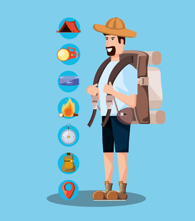 man tourist with bag camping and set icons vector illustration design