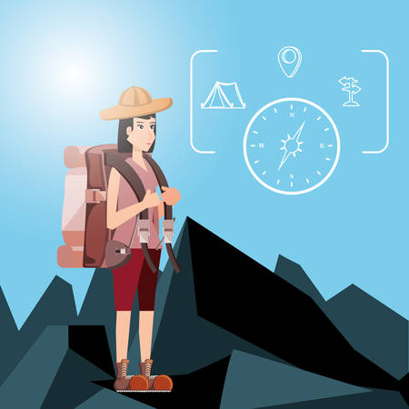 woman tourist with compass and set icon vector illustration design Illustration