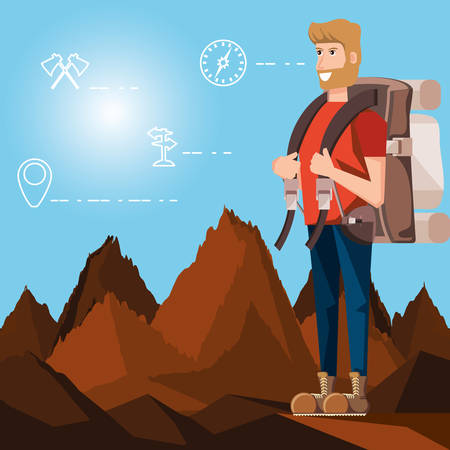 man tourist in landscape with set icons vector illustration design