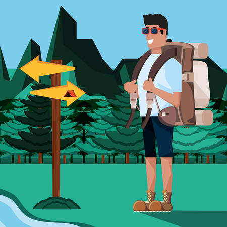 man tourist in camping zone vector illustration design Illustration