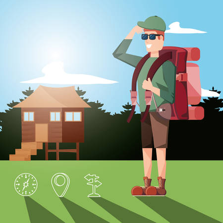man tourist in camping zone and set icons vector illustration design