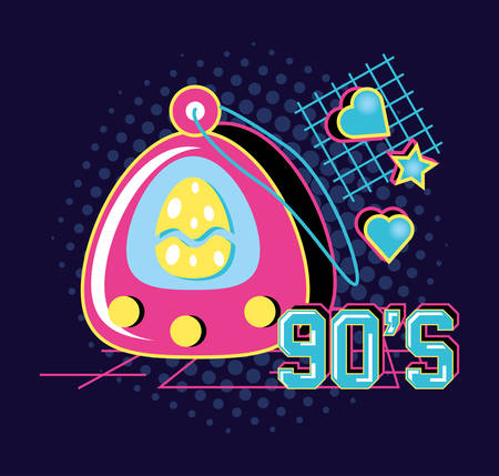 video game hand of nineties retro vector illustration design