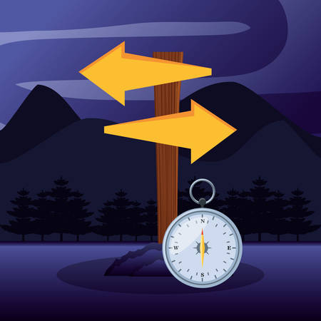 arrows directions and compass in camping zone vector illustration design