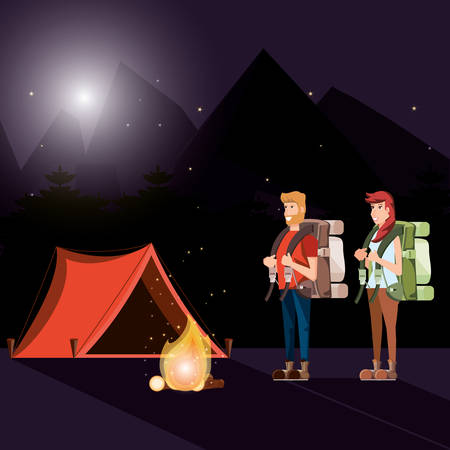 couple of tourists in zone camping and nightscape vector illustration design Illustration