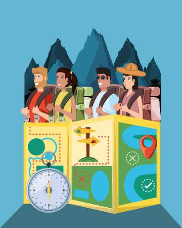 group of tourists and set icons vector illustration design