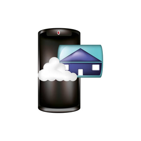smartphone with cloud computing and house vector illustration design Illustration