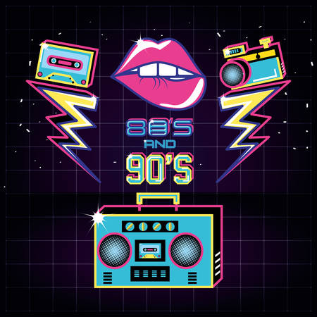 radio with icons of eighties and nineties retro vector illustration design 向量圖像