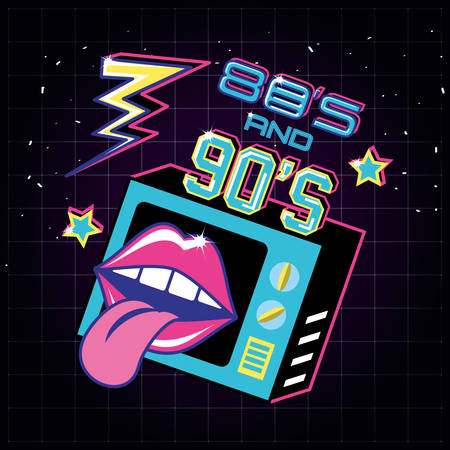 televisor with icons of eighties and nineties retro vector illustration design