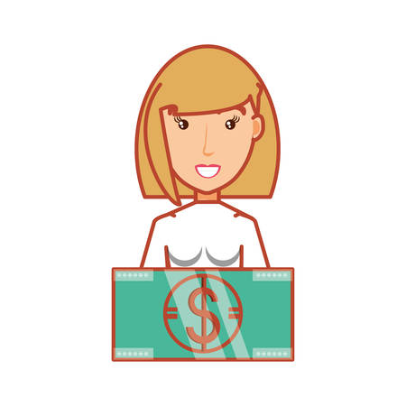 woman with bill dollar money vector illustration design