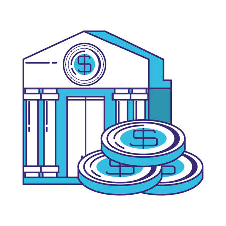 coins money with bank building vector illustration design