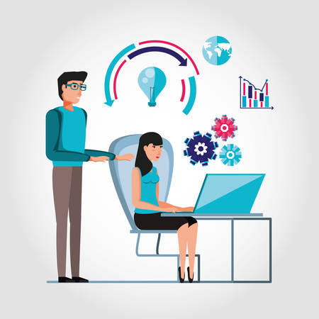 couple working and set icons business vector illustration design