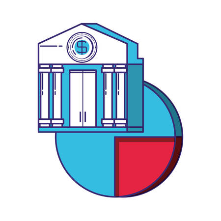 bank building with statistics pie vector illustration design 일러스트
