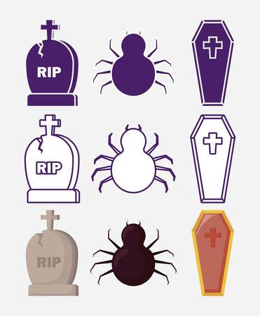 halloween celebration set icons vector illustration design Illustration