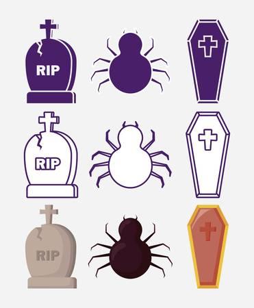 halloween celebration set icons vector illustration design Illustration