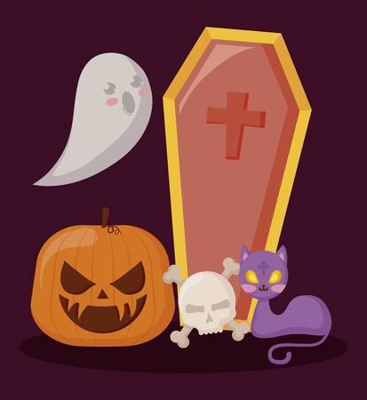 pumpkin with ghost and set icons halloween vector illustration design