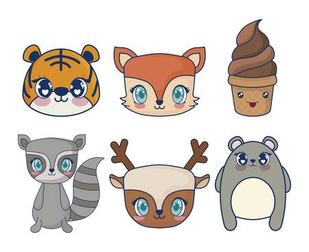 sweet and adorables kawaii set characters vector illustration design
