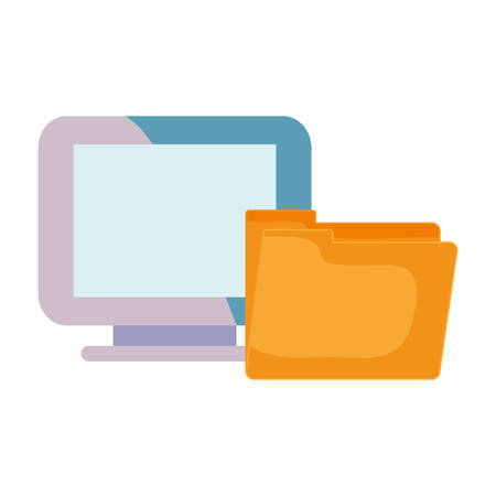 online shopping commerce computer and folder vector illustration