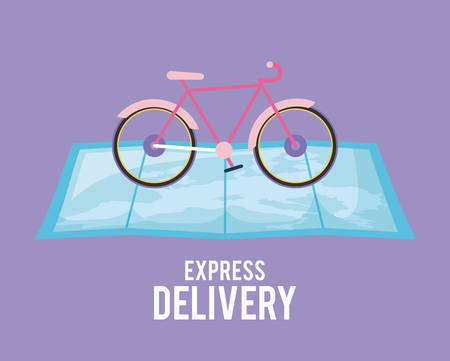 delivery service bicycle in map guide vector illustration design