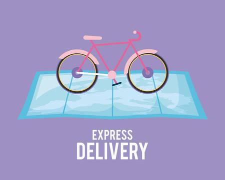 servizio di consegna bicicletta in mappa guida illustrazione vettoriale design