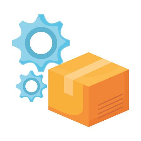 online shopping commerce cardboard box gears vector illustration